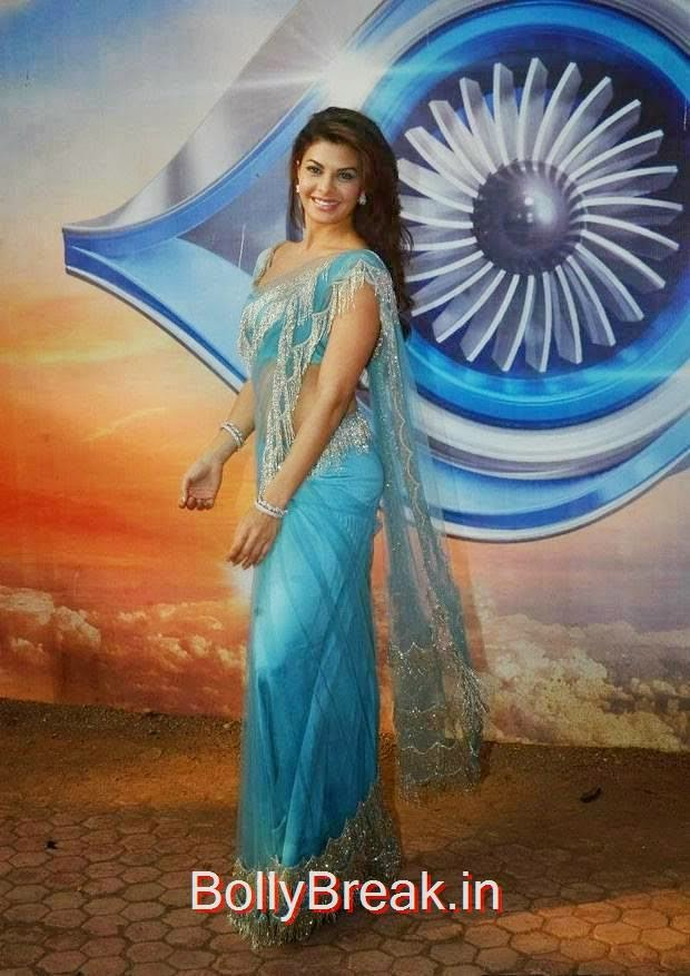 Jacqueline Fernandez Photoshoot Stills, Jacqueline Fernandez Hot Pics In Blue Saree from Roy Movie Promotions On Big Boss 8