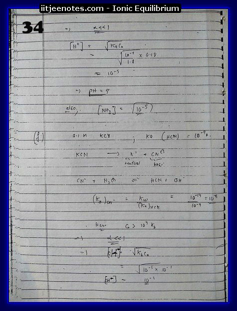 Ionic Equilibrium Notes IITJEE 2