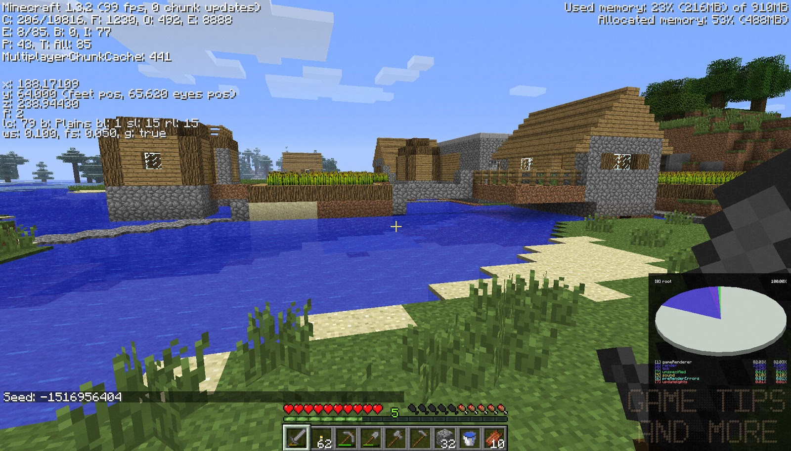 The game tips and more blog game tip minecraft seed with village you spawn on a hill like the one in the corner but right next to the hill is this village enjoy click to see full size publicscrutiny Choice Image