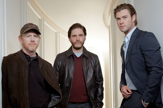 Director Ron Howard with Rush actors Daniel Brühl (Niki Lauda) and Chris Hemsworth (James Hunt)