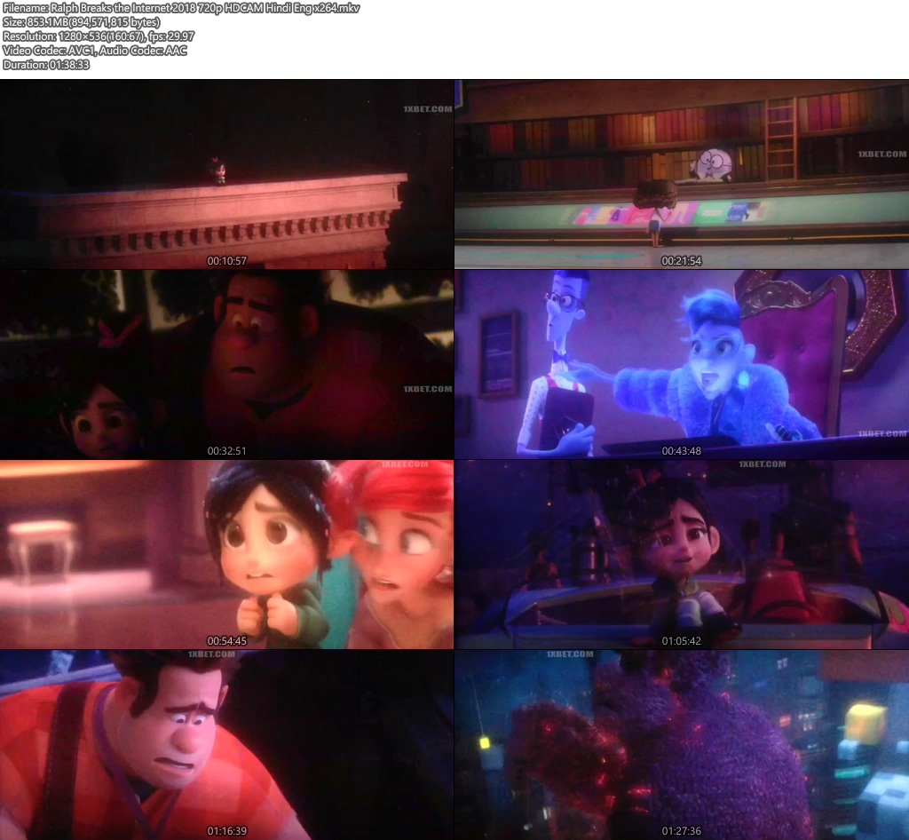 Ralph Breaks the Internet 2018 720p HDCAM Hindi Eng x264 | 480p 300MB | 100MB HEVC Screenshot