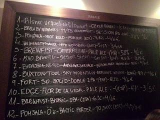 меню разливного пива Irreale