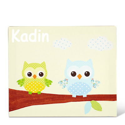 Owls Lime Personalised Canvas Art