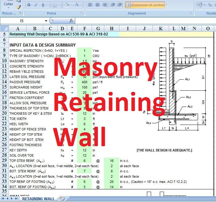 Masonry Retaining Wall Design Spreadsheet Civil Engineering Program