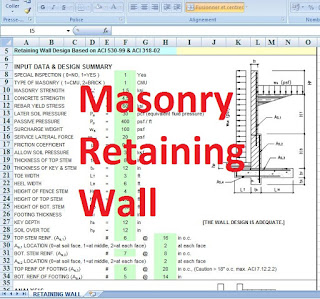 Design of Masonry retaining wall in excel spreadsheet for personnal use - free download