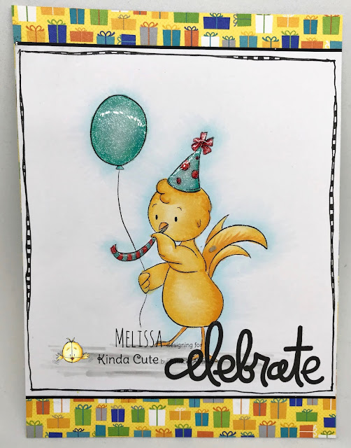 celebrate card with a party chicken digital stamp