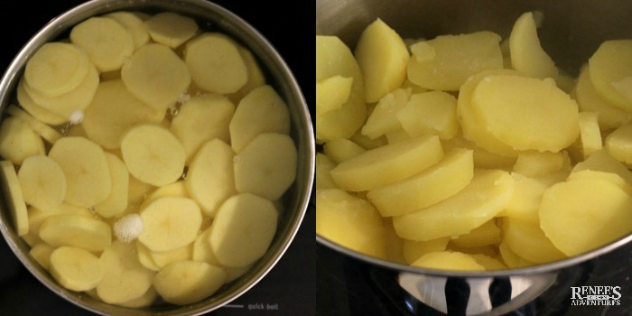 Making mashed potatoes with potato slices in pan