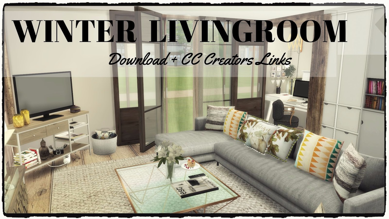 Sims 4 winter livingroom download cc creators links for Sims 4 living room ideas