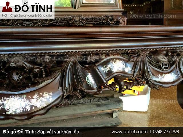 Sập vắt vải khảm ốc - Sập gỗ cao cấp phòng khách