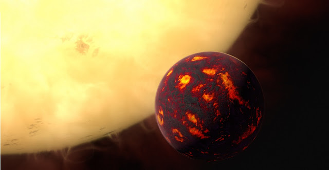 This artist's impression shows the super-Earth 55 Cancri e in front of its parent star. Using observations made with the NASA/ESA Hubble Space Telescope and new analytic software scientists were able to analyse the composition of its atmosphere. It was the first time this was possible for a super-Earth.  55 Cancri e is about 40 light-years away and orbits a star slightly smaller, cooler and less bright than our Sun. As the planet is so close to its parent star, one year lasts only 18 hours and temperatures on the surface are thought to reach around 2000 degrees Celsius.  Credit: ESA/Hubble, M. Kornmesser