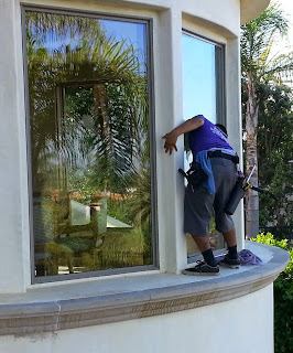 Orange County window cleaners at Stanley window care can reach any windows no matter how high. We go out of a ledge for you.