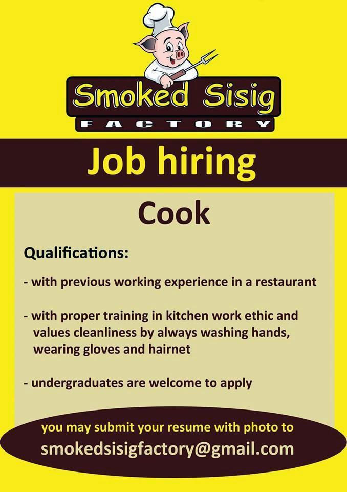 Davao Jobs Hiring 2019: Smoked Sisig Factory Job Hiring: Cook
