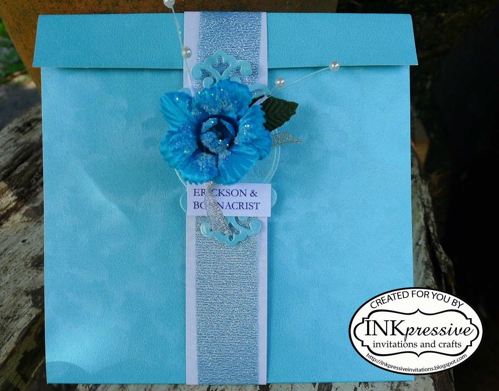 Winter Themed Wedding Invitations: Winter Floral Wedding Invitation Blue + Silver