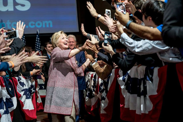 Hillary Clinton celebrates with supporters after winning DC primary