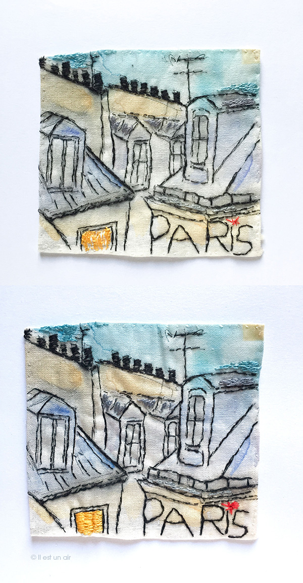 Broderie : les toits de Paris