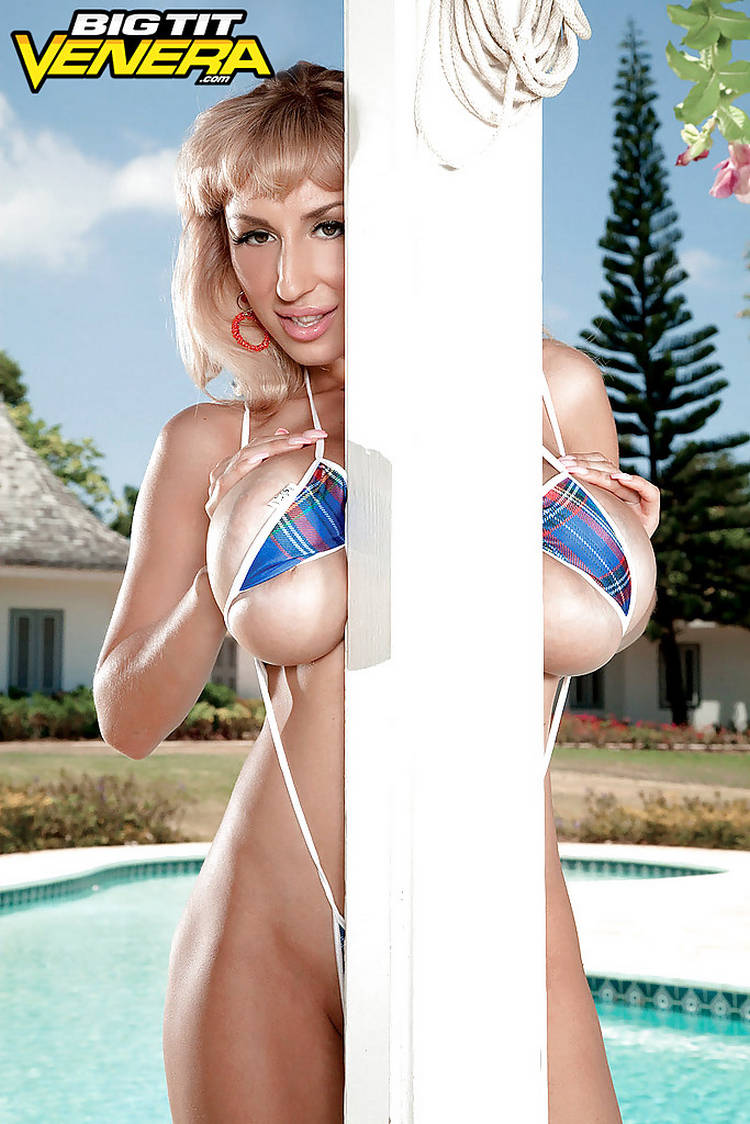 Older Busty Blonde Babe Sexy Venera Freeing Huge Hooters From Skimpy Bikini Outdoors
