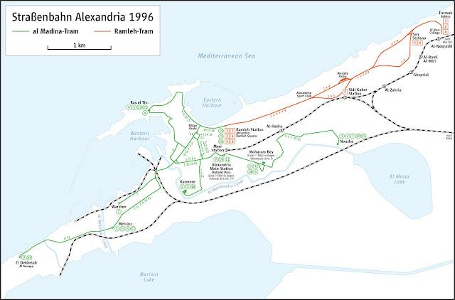 خريطة محطات ترام الأسكندرية Alexandria Tram Map