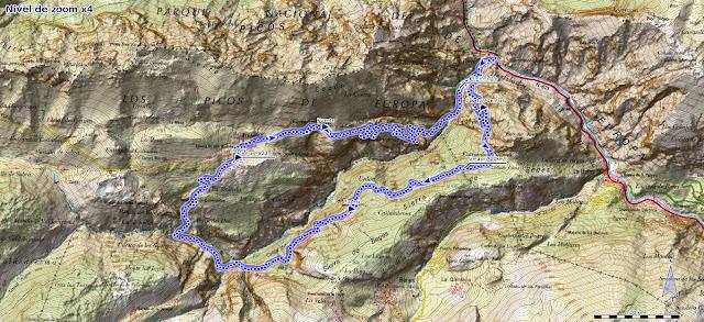 Mapa de la ruta por la Canal de Reñinuevo