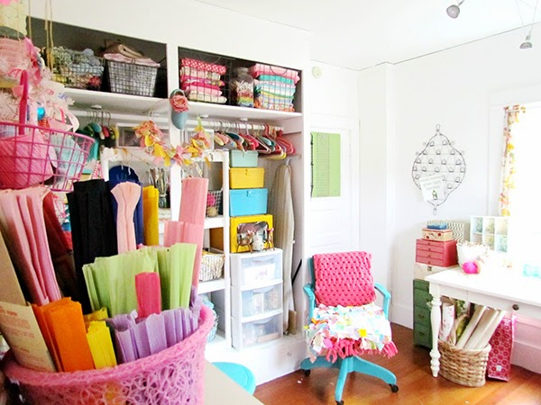 Trisha Brink's bright and colourful craft room with lots of craft storage