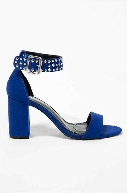Morgan - Sandale albastre cu toc inalt gros piele naturala de firma
