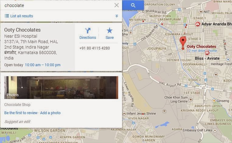 Google maps shows location of shops