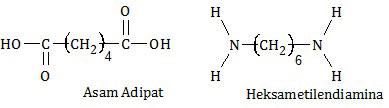 asam adipat dan heksametilendiamina membentuk polimer