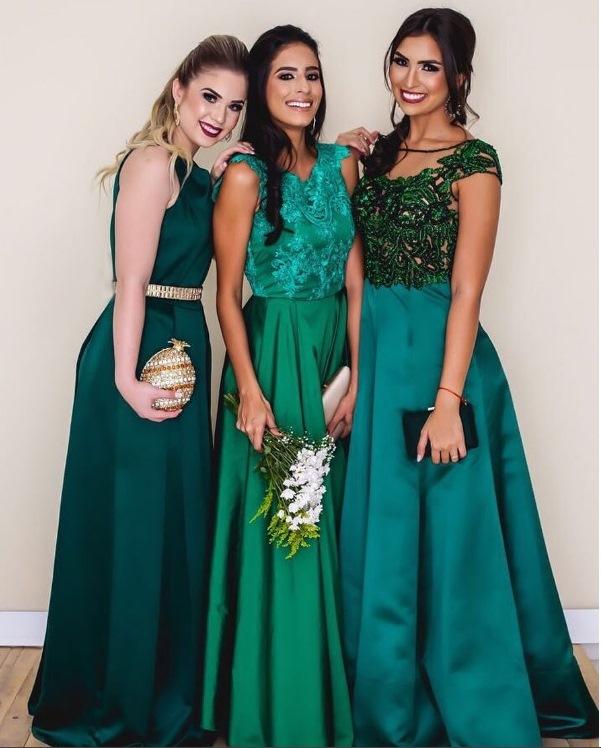 Vestido longo tons de verde