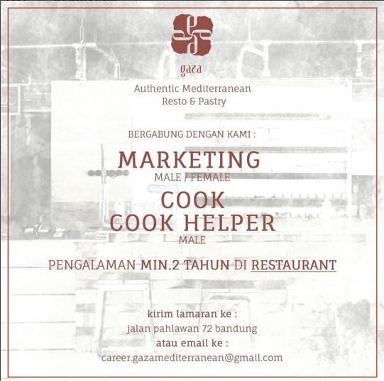 Lowongan Kerja Gaza Authentic Mediterranean Resto & Pastry Bandung