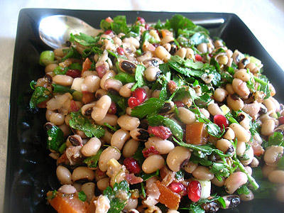 black-eyed beans walnut salad