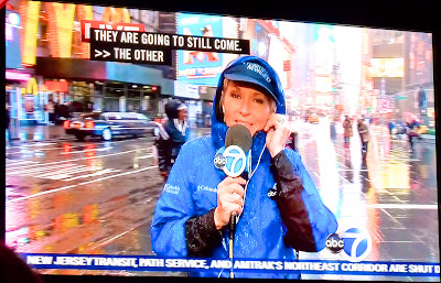 ABC News Times Square New York under Sandy Hurricane