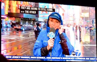ABC News Times Square New York under Sandy Hurricane