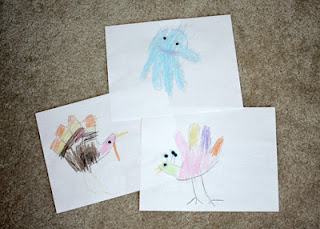 A few of Tessa's Hand Art creations...a turkey, peacock and an octopus.