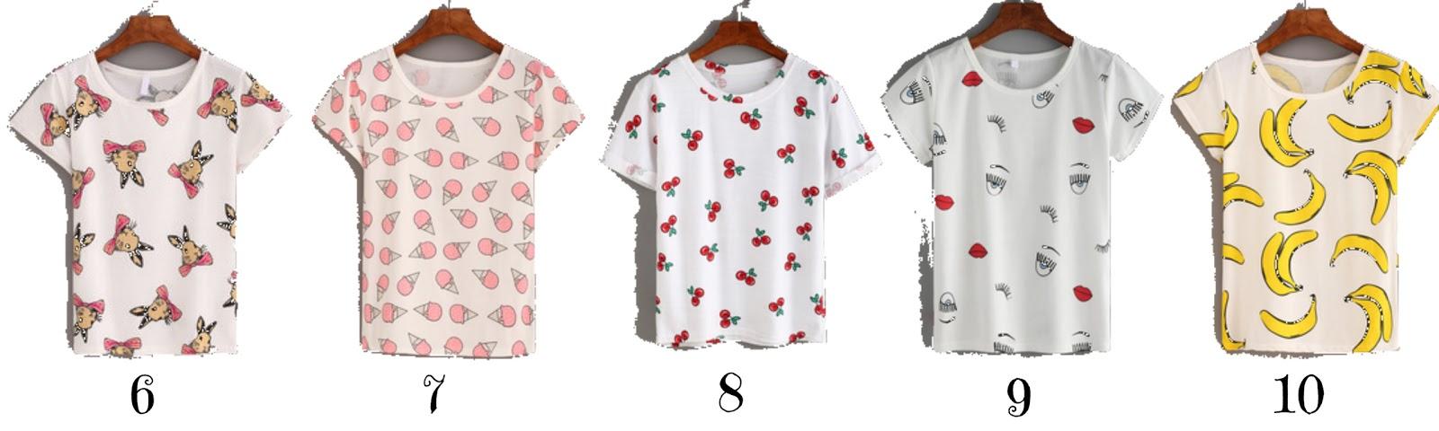 7fa6ca4b2 Camiseta com estampa de arco-íris 2. Camiseta com estampa de cactus 3.  Camiseta com estampa de hambúrgueres e batatas fritas