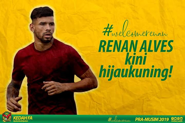 Biodata Renan Alves Pemain Import Baru Kedah 2019