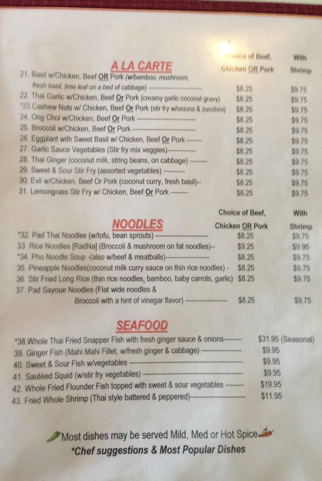 Thunder Bay Restaurant Menu