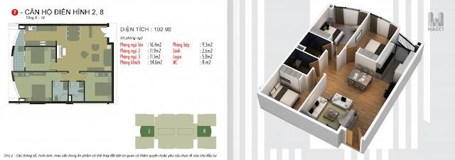 Mặt bằng căn 2,8 tòa N03-T5