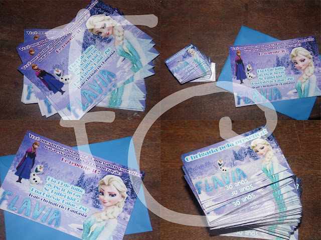 Convite Padrão e Tags - Tema Frozen