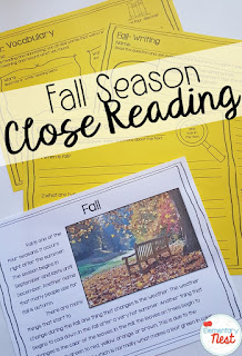 Fall Close Reading- September Activities and primary resources plus three FREEBIES- fun ELA, math, and social studies activities for students during the month of September
