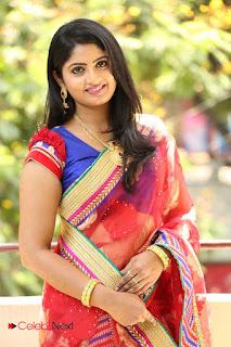 Actress Mounica Pictures in Saree at Tholi Kiranam Press Meet  0023