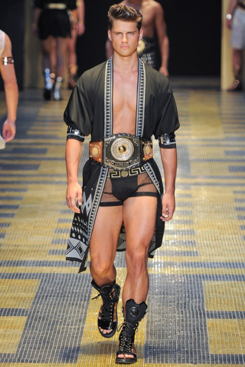 286a1dd6d681 AT MILAN FASHION WEEK A GLADIATOR INSPIRED COLLECTION OPENING UP SHOWING THE  PERFECT MALE FORM A PREDOMINANTLY BLUE AND TURQUOISE COLOUR PALETTE MIXED.