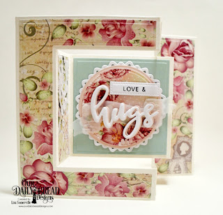 Our Daily Bread Designs Stamp/Die Duos: Hugs, Wavy Words, Custom Dies: Tri-Fold Card with Layers, Pierced Circles, Pierced Rectangles, Circles, Filigree Circles, Paper Collection: Romantic Roses