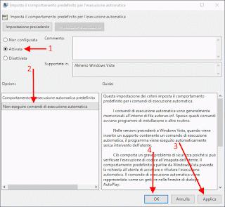 Editor Criteri di gruppo locali - Disattiva esecuzione automatica Windows 10