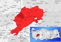 Sinanpaşa ilçesinin nerede olduğunu gösteren harita