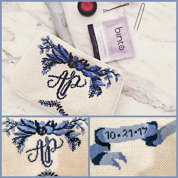 Blue and white personalised bridal clutch bag