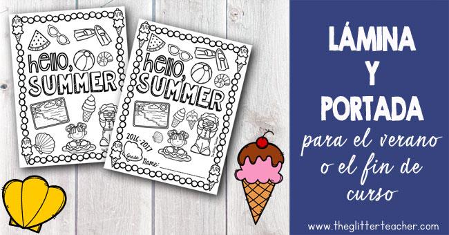 Lámina y portada para celebrar el verano o el fin de curso imprimible.