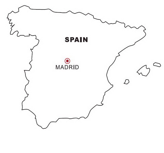 Map Of Spain For Coloring.Map Of Spain Coloring Color Area