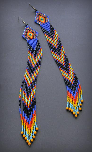 купить длинные индейские серьги из бисера украшения россия