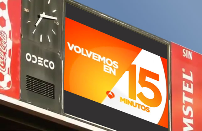 Una prueba de anuncio en los videomarcadores de El Sadar
