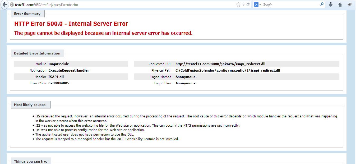 ColdFusion Tips & Tricks: isapi_redirect 500 Internal Server