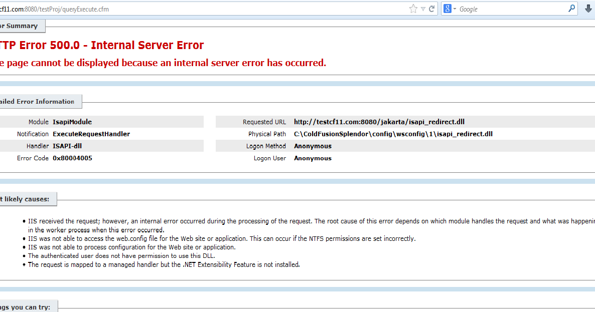 ColdFusion Tips & Tricks: isapi_redirect 500 Internal Server Error